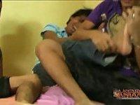 Asian teens tickling