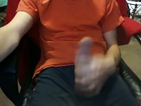 Dressed guy wanks on cam