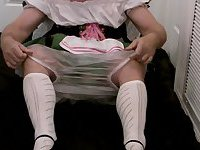 Sissybaby beerwench wetting diapers in chastity