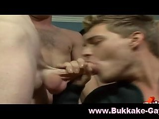 Horny cock addicted gay sucking off eight guys