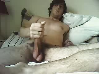 Stimulating of a big cock & jizzing