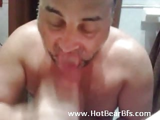 Sucking his hairy cock