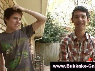 Sweet bukkake twink gets cock