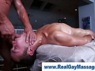 Straight guy mouth and ass fucked by gay masseuse