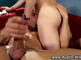Gay muscley hunk jerks off