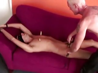 Master paddling his submissive
