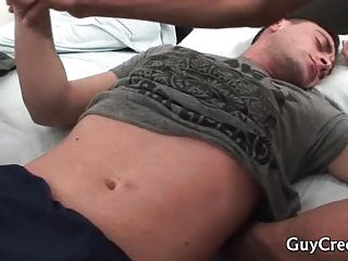 Amazing queer bro spying on his sleeping pal before making out