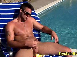 Cock tugging muscle hunk sexy solo fun