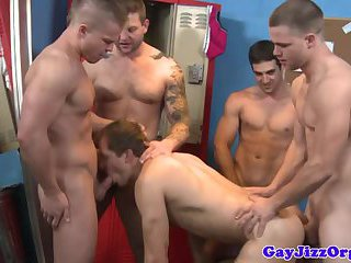 Muscled jocks amateur orgy after game